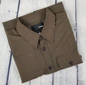 HURLEY   pinstripe short sleeve button down shirt